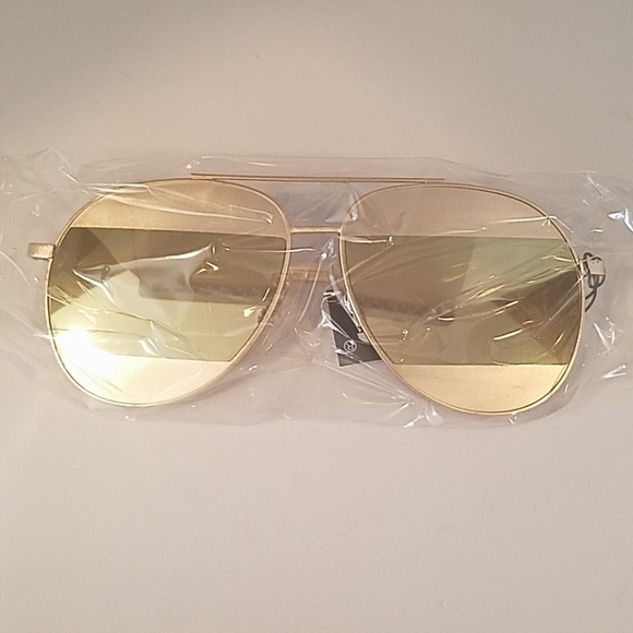 Kiss Other - Cut out mirrored gold green AVIATORS sunglasses nq